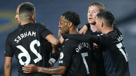 BRIGHT START: The lads congratulate Raheem after he op恩s the scoring